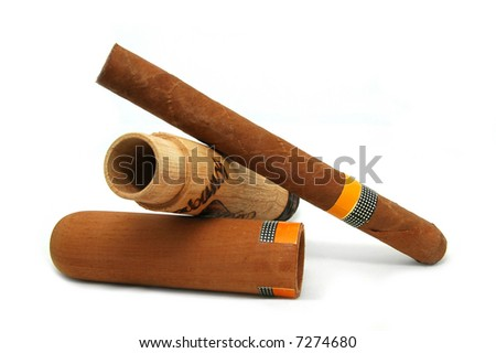 Cigar with a wooden box - stock photo