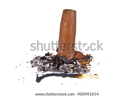 Cigar with ash and burned match isolated on a white background - stock photo