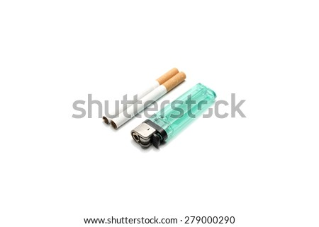 cigarette and lighter - stock photo