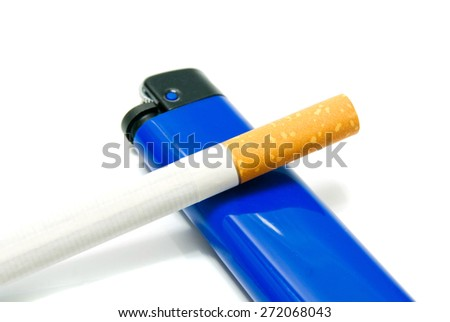 cigarette and plastic lighter closeup on white
