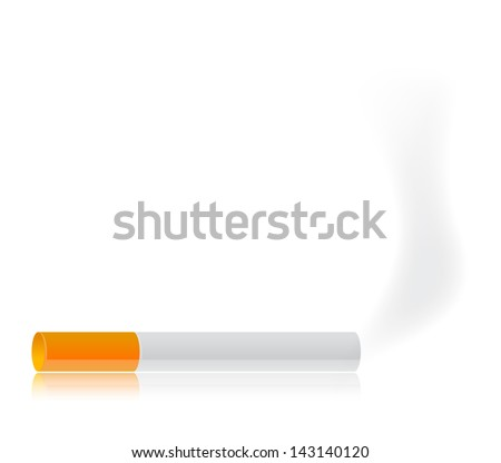 Cigarette and smoke illustration over a white background