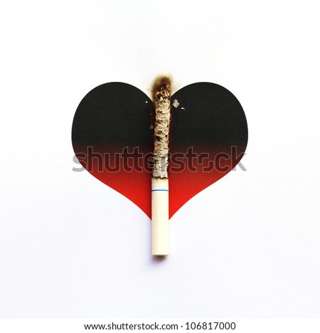 Cigarette burnt on gradient graphic heart - stock photo