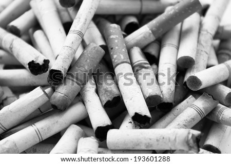Cigarette Butts  Black And White - stock photo