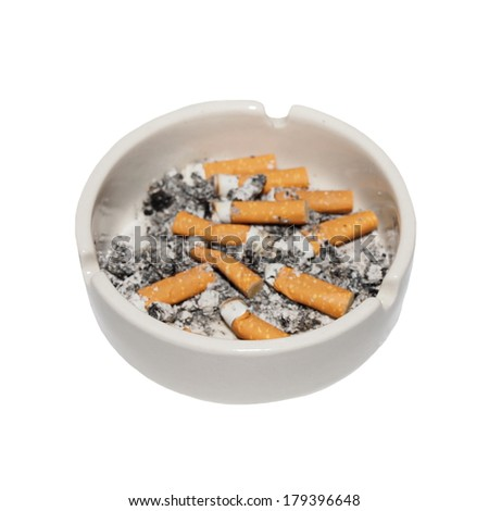Cigarette butts in ashtray isolated on white background - stock photo