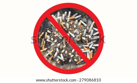 Cigarette butts in the ashtray isolated in white background. The concept of World No Tobacco Day in 31 May, stop smoking, do not smoke, quit smoking, protect your health and other - stock photo