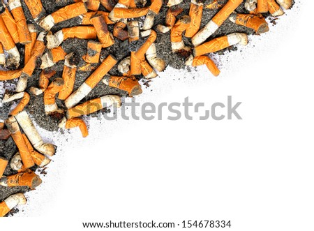Cigarette butts isolated on the white background - stock photo