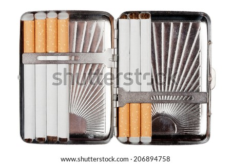 Cigarette case wit some cigarettes isolated on white - stock photo