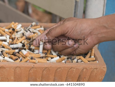 cigarette in ashtray. health concept.