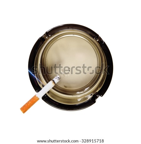 Cigarette in ashtray. Top view - stock photo