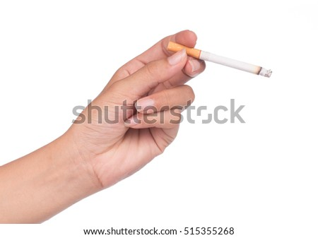 Cigarette in hand isolated on White background.