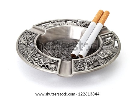 cigarette in  new ashtray, isolated