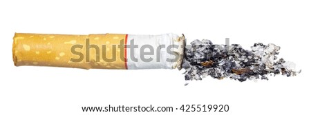 Cigarette isolated on white background. Close up of Cigarette. Cigarette butt with ash. Tobacco isolated. World no tobacco day. - stock photo