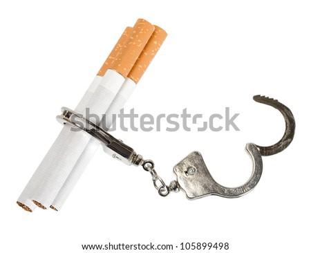 Cigarette isolated on white background . Smoking manacles dependency - stock photo