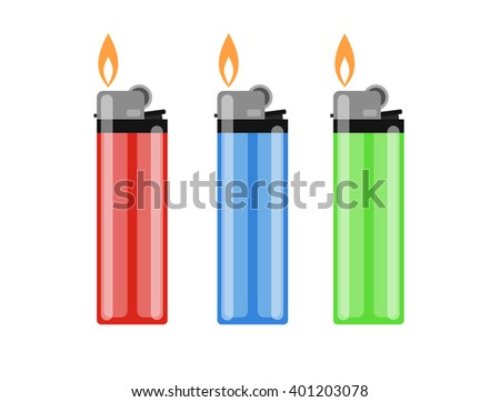 Cigarette lighter illustration. Cigarette lighter icon set. Cigarette lighter flame. Light a cigarette lighter illustration.