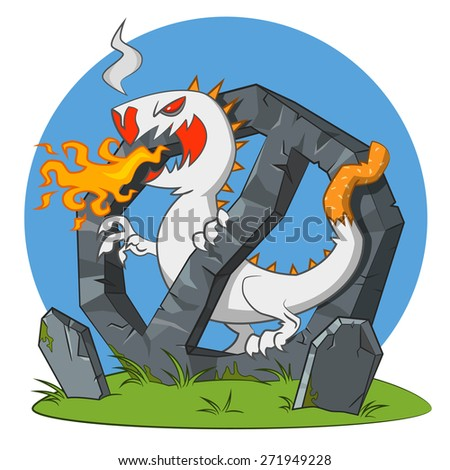 Cigarette monster spewing flames. raster illustration.  - stock photo