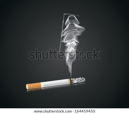 cigarette on a reflecting surface, the smoke in the form of death - stock photo
