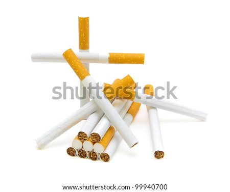 Cigarette on a white background close-up. No smoking. - stock photo