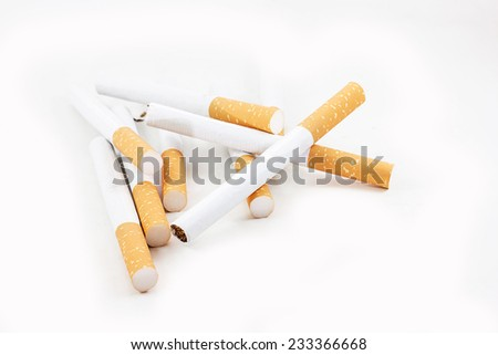 Cigarette on the white background.