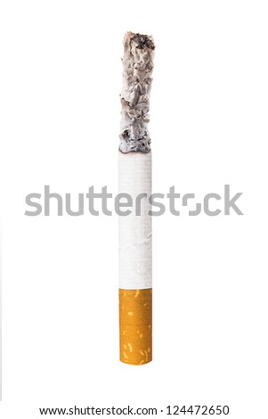 Cigarette on white with clipping path