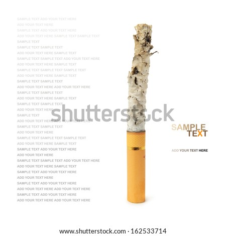 Cigarette on white with clipping path on white background - stock photo