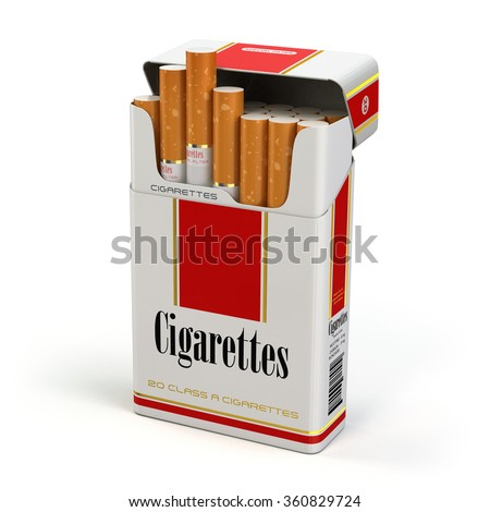 Cigarette pack on white isolated background. 3d - stock photo