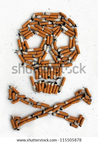 Cigarette skull - stock photo