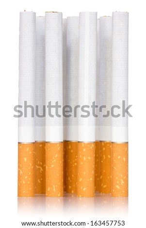 Cigarette sticks with reflection on white background