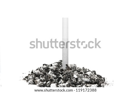 Cigarette stuck in a pile of ash on a white background. - stock photo