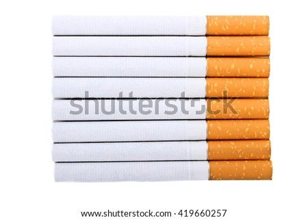 Cigarette with an orange filter lie close to each other isolated on white background
