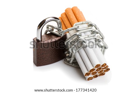 cigarette with chain and padlock. concept stop smoking - stock photo