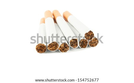 Cigarette with filter isolated on white background.