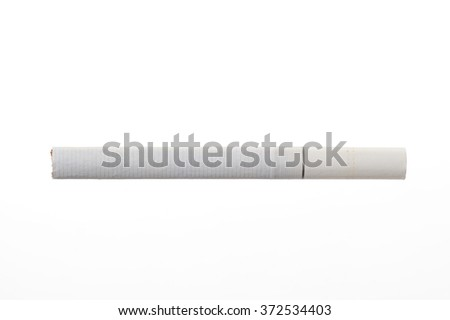 Cigarette with filter isolated on white background