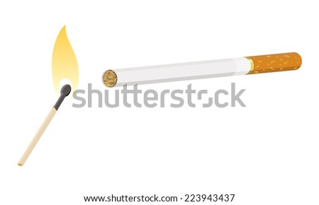cigarette with lit match