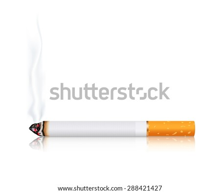 Cigarette with smoke isolated on white. Raster version