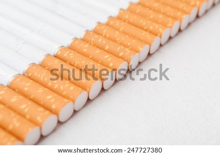 cigarettes alignment on white background - stock photo