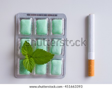 cigarettes and chewing gum with mint