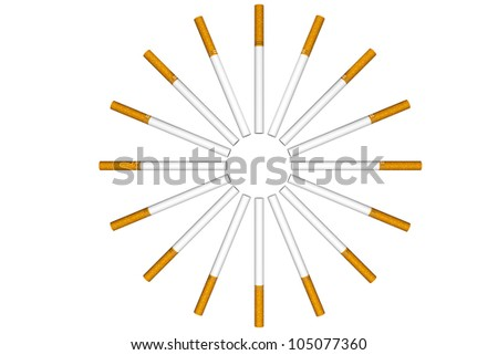 Cigarettes as circle on a white background - stock photo