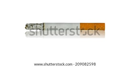 cigarettes burning with shadow isolated on white background - stock photo