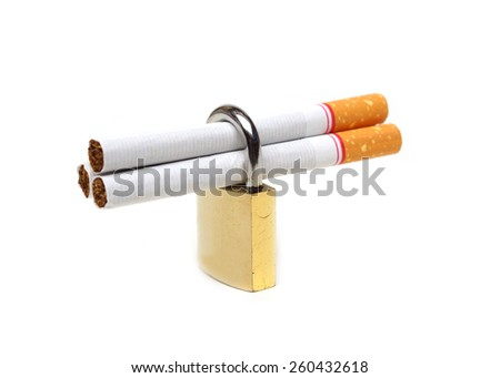 Cigarettes in a security lock - stop smoking concepts