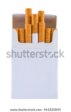 Cigarettes in pack isolated on white background