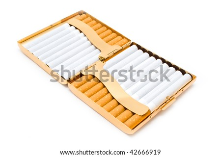 cigarettes in the opened cigarette-case on a white background
