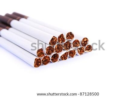 Cigarettes isolated on white background. - stock photo