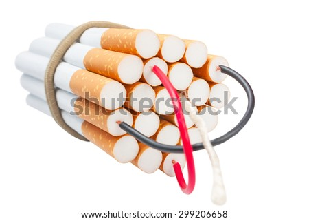 Cigarettes kill. Stop smoking. Anti-tobacco concept isolated