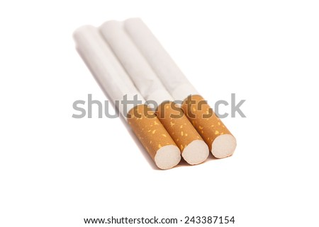 Cigarettes on white  - stock photo