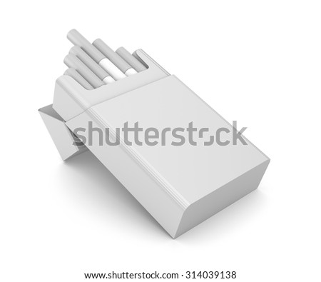 Cigarettes pack 3D illustration isolated over white - stock photo