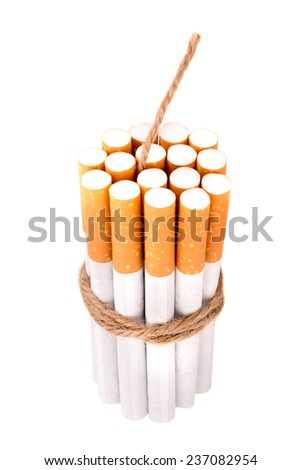 Cigarettes together in dinamite style with fuse, isolated in white
