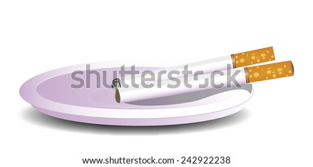 Cigarettes. Two cigarettes on a pink porcelain ashtray. - stock photo