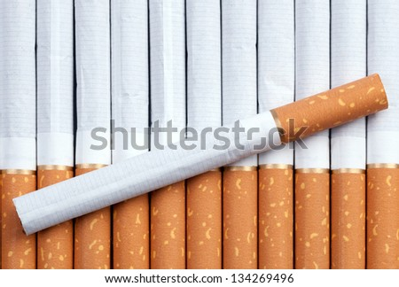 Cigarettes with a brown filter close up