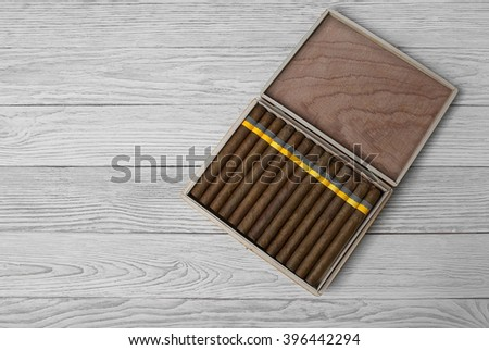 Cigars in the cigar box - stock photo