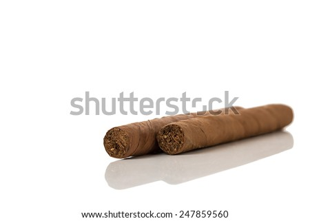 Cigars Isolated on a White Background.Copy Space. - stock photo